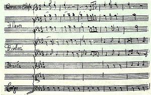 """Demofonte (Berezovsky) - Aria of Timante, """"Misero pargoletto"""", the fragment of the composer's manuscript"""