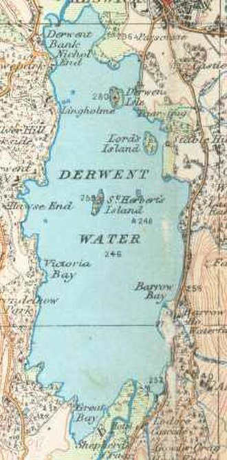 Derwentwater - Derwent Water on a 1925 Ordnance Survey map