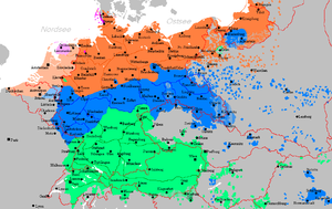 The spread of the German language until around 1945 in Central Europe. Orange marks Lower German, blue Middle German and green Upper German dialects.