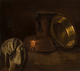 Still life with copper pots.