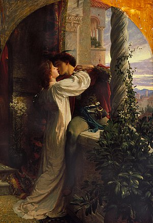 Dating - The clandestine meeting between Romeo and Juliet in Shakespeare's play. Painting by Sir Frank Dicksee, 1884