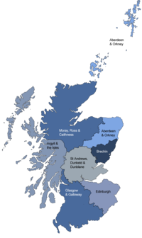 Map of the dioceses of the Scottish Episcopal Church