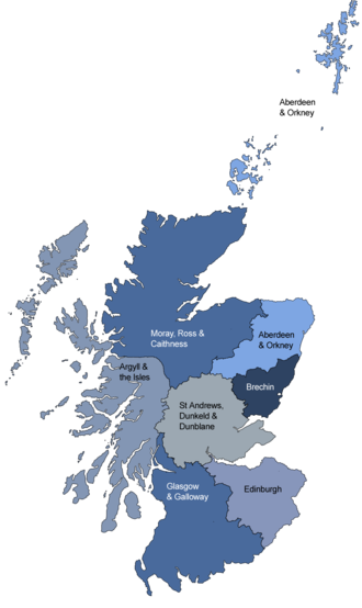 Scottish Episcopal Church - Map of the dioceses of the Scottish Episcopal Church