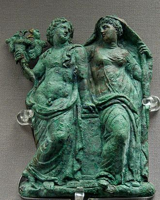 Ariadne - Ariadne as the consort of Dionysos: bronze appliqué from Chalki, Rhodes, late fourth century BCE (Louvre)