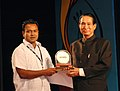 Director Golam Rabanny Biplab receiving Special Jury Award (Silver Peacock+ certificate + Rs 2.5Lakh cash prize) for his film from Bangladesh 'ON the Wings of Dreams' at the closing ceremony of IFFI 2007 at Panaji, Goa.jpg