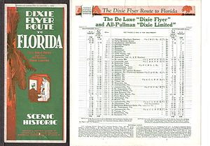 Dixie Flyer (train) - Dixie Route brochure with timetables for the Dixie Flyer and Dixie Limited, 1930.