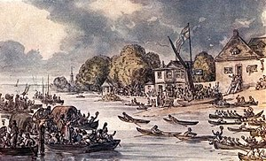 The finish of Doggett's Coat and Badge, Thames watermen's race