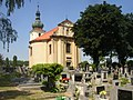 Doksany CZ SS Peter and Paul church with cemetery from SE 090.jpg