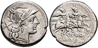 Gnaeus Domitius Ahenobarbus (consul 162 BC) - Helmeted head of Roma right; X (mark of value) behind.