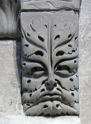 Green Man - A foliate head in the shape of an acanthus leaf: a corbel supporting the Bamberg Horseman, Bamberg cathedral, Germany, early 13th century