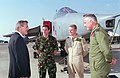 Donald H. Rumsfeld talks with two pilots and a support technician from the Royal Air Force .jpg