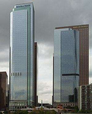 Two California Plaza - Two California Plaza (left), One California Plaza (right).