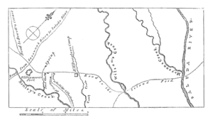 Siege of Savage's Old Fields - Map showing the area around Ninety Six, including Williamson's fort