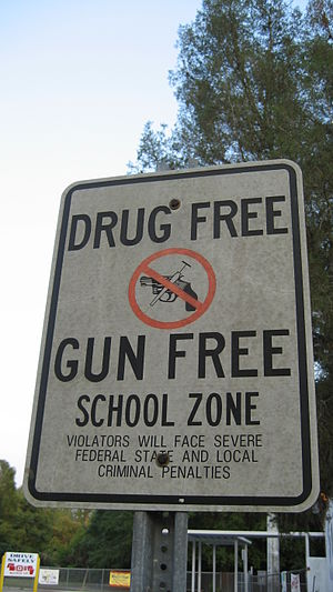 "Gun-Free School Zones Act of 1990 -  Section 1702(b)(5) of Pub. L. 101-647 states: ""Federal, State, and local authorities are encouraged to cause signs to be posted around school zones giving warning of prohibition of the possession of firearms in a school zone."""
