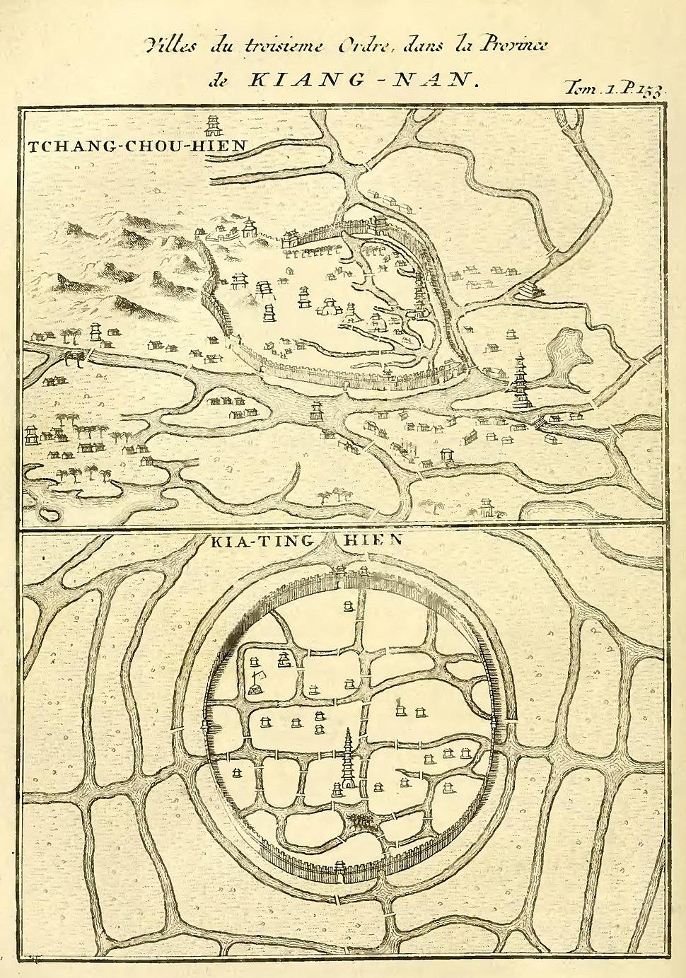 Du Halde - Description de la Chine - Villes de troisieme ordre dans la province ce Kiang nan