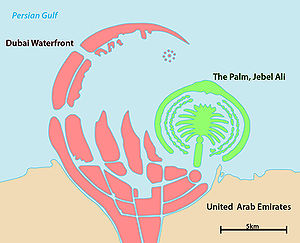 The Dubai Waterfront and the palm Jebel Ali in...