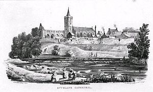 Clement of Dunblane - A chalk lithographic sketch of Dunblane Cathedral published in 1821, a half century before the reconstruction of the cathedral