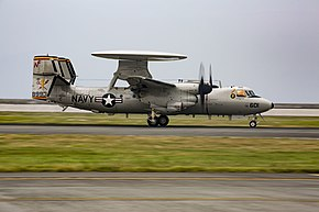 E-2D Hawkeye of VAW-125 lands at MCAS Iwakuni on 9 August 2017 (170809-M-HD015-0072).JPG