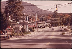 New York State Route 9N - NY 9N and US 9 facing towards Lake George Village in 1973