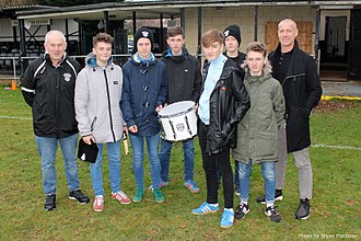 East Preston F.C. - East Preston Ultras are presented with a new drum by the club.