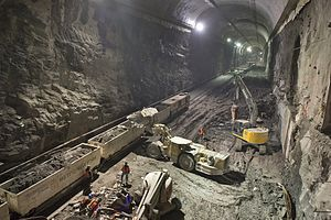 East Side Access - East cavern in February 2013. A temporary railroad connects the work site through the 63rd Street Tunnel to Queens.