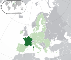 Location of  Metropolitan France  (dark green)– in Europe  (green & dark grey)– in the European Union  (green)  —  [Legend]