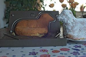 Pound cake - traditional German Osterlamm made from Rührkuchen