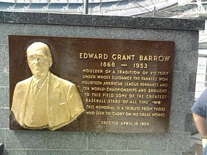 Ed Barrow - Barrow's plaque in Monument Park in Yankee Stadium.