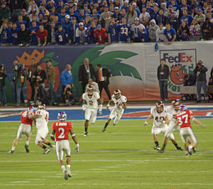 2008 Orange Bowl - Virginia Tech's Eddie Royal fields and returns the opening kickoff of the game.