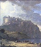 Painting of the castle under a stormy sky