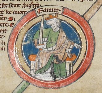 Máel Coluim, King of Strathclyde - Depiction of Edmund I as it appears on folio 2r of British Library Royal 14 B VI.
