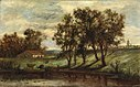 Edward Mitchell Bannister - Untitled (man with cows grazing near pond with house and trees in background) - 1983.95.80 - Smithsonian American Art Museum.jpg
