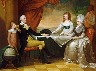 "President's House (Philadelphia) - Mellon Collection, National Gallery of Art ""The Washington Family"" by Edward Savage, painted between 1789 and 1796, shows (from left to right): George Washington Parke Custis, George Washington, Nelly Custis, Martha Washington, and an enslaved servant (probably William Lee or Christopher Sheels)."