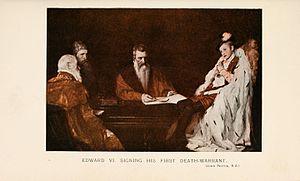Edward VI of England - Edward VI signing his first Death Warrant by John Pettie R.A