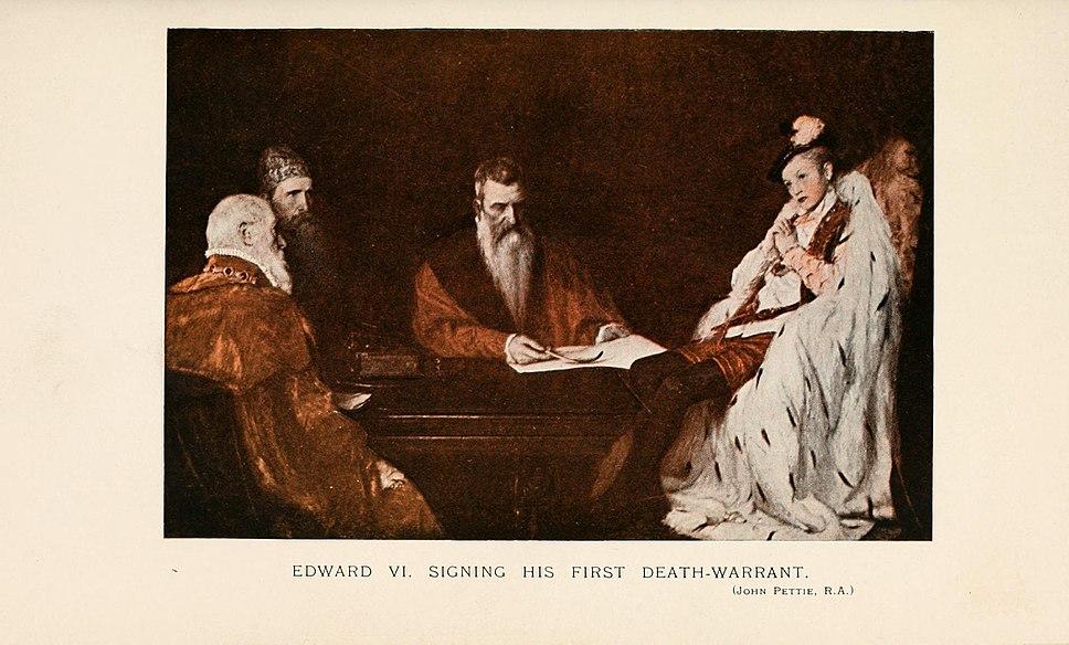 Edward VI sign his First death warrant by John Pettie R.A