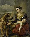 Een sint-bernardshond komt een verdwaalde vrouw met een ziek kind te hulp Rijksmuseum SK-A-1109.jpeg