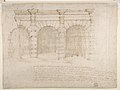Elevation of Giulio Romano's House (recto); the Ruins from the Caelius Aqueduct and Temple of Claudius in Rome (verso) MET DP810761.jpg