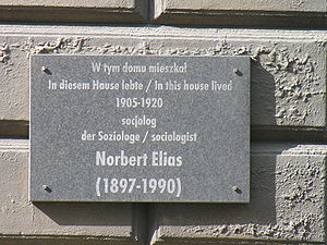 Norbert Elias - The plaque for Norbert Elias in Wrocław
