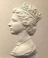 Elizabeth II Machin head sculpture (straightened & cropped).jpg