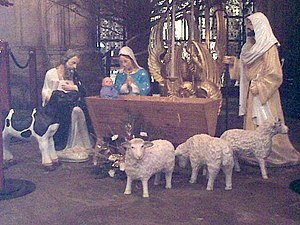 Manger scene under the Christmas tree in Ely C...
