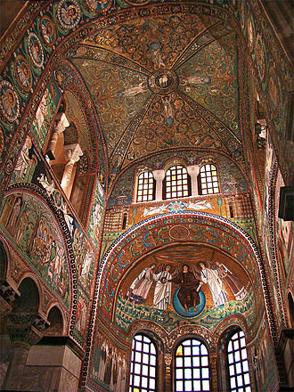 Byzantine architecture - Interior of the Basilica of San Vitale from Ravenna (Italy), decorated with elaborate and glamorous mosaics