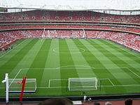 The Emirates Stadium filling up on the day of Dennis Bergkamp's testimonial.