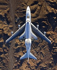 Endeavour after STS-126 on SCA over Mojave from above.jpg