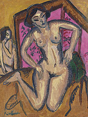 Kneeling Nude in front of Red Screen (verso: Seated Nude with Bent Leg)
