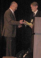 Eugene Fama (left) winning Morgan Stanley-American Finance Association Award, 2008