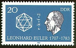 Stamp of the former German Democratic Republic honoring Euler on the 200th anniversary of his death. In the middle, it shows his polyhedral formula V − E + F = 2.