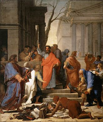 The Preaching of Saint Paul at Ephesus by Eustache Le Sueur (1649) Eustache Le Sueur - The Preaching of St Paul at Ephesus - WGA12613.jpg