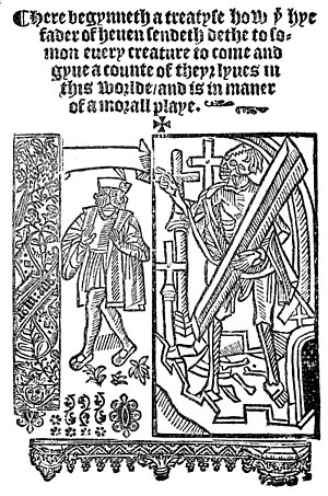 Everyman (play) - Frontispiece from edition of Everyman published by John Skot c. 1530.