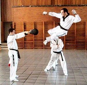 Sport in Korea - A taekwondo practitioner demonstrating dollyo chagi technique.