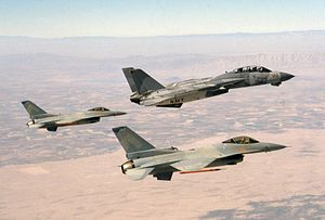 F-14A VF-2 in special camouflage with VF-126 F-16Ns over Arizona 1988.JPEG